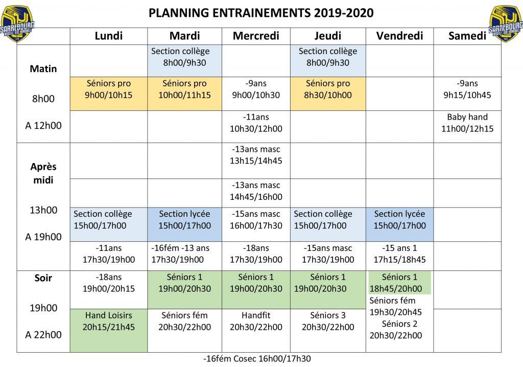 PLANNING entrainements handball sarrebourg 2019-2020