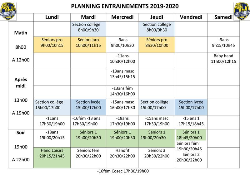 planning entrainement SMSHB